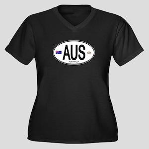 Australia Intl Oval Women's Plus Size V-Neck Dark