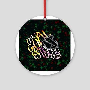 Hockey Goalie Mask Calligram Xmas Ornament (round)