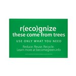 """""""b(eco)me green"""" Rectangle Magnet (100 pack)"""