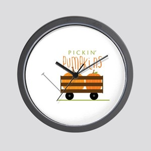 Pickin Pumpkins Wall Clock