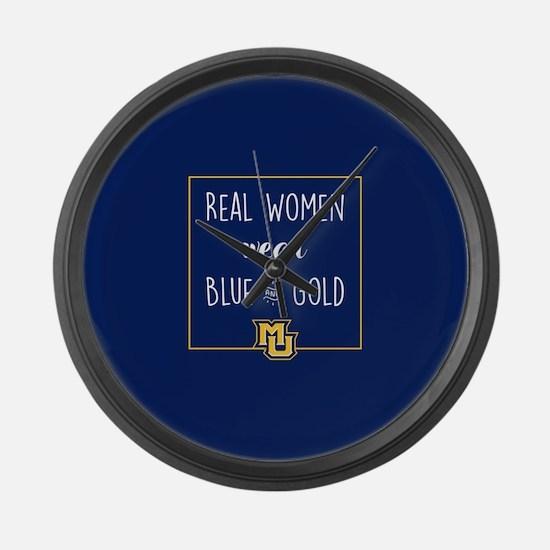 MU Real Women Wear Blue and Gold Large Wall Clock