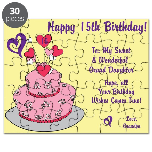 Happy 15th Birthday Card From Grandpa Puzzle By Itsallinthename