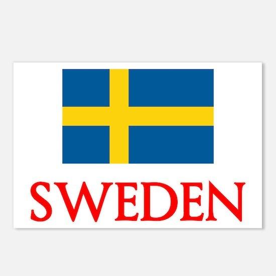Sweden Flag Design Postcards (Package of 8)