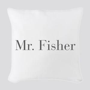 Mr Fisher-bod gray Woven Throw Pillow