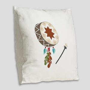 Native Drum Burlap Throw Pillow