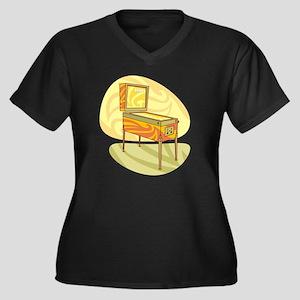 Pinball Women's Plus Size V-Neck Dark T-Shirt
