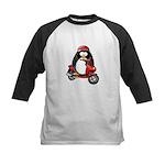 Red Scooter Penguin Kids Baseball Jersey