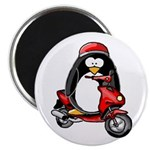 Red Scooter Penguin Magnet