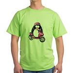 Pink Scooter Penguin Green T-Shirt