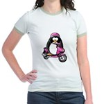 Pink Scooter Penguin Jr. Ringer T-Shirt