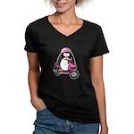 Pink Scooter Penguin Women's V-Neck Dark T-Shirt