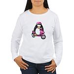 Pink Scooter Penguin Women's Long Sleeve T-Shirt