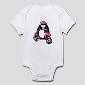 Pink Scooter Penguin Infant Bodysuit