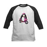 Pink Scooter Penguin Kids Baseball Jersey