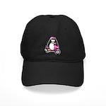 Pink Scooter Penguin Black Cap