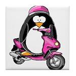 Pink Scooter Penguin Tile Coaster