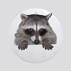 Raccoon and Tracks Ornament (Round)