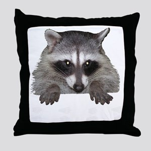 Raccoon and Tracks Throw Pillow