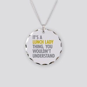 Lunch Lady Thing Necklace Circle Charm