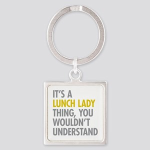 Lunch Lady Thing Square Keychain