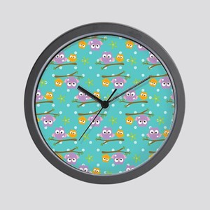 Adorable Cartoon Style Owls On Branch Wall Clock