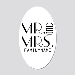 Personalized Mr. Mrs. 20x12 Oval Wall Decal