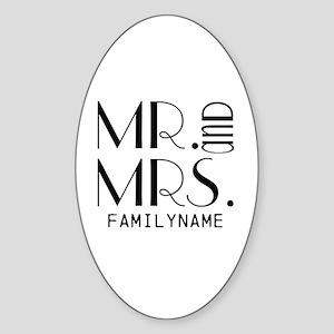 Personalized Mr. Mrs. Sticker (Oval)