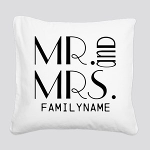Personalized Mr. Mrs. Square Canvas Pillow
