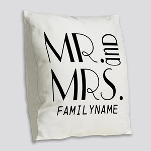 Personalized Mr. Mrs. Burlap Throw Pillow
