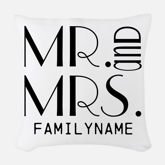 Personalized Mr. Mrs. Woven Throw Pillow