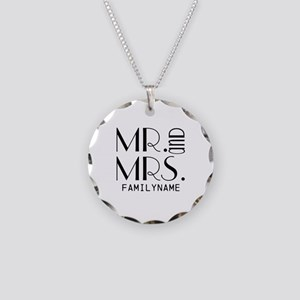 Personalized Mr. Mrs. Necklace Circle Charm