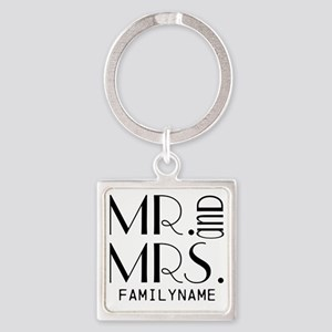 Personalized Mr. Mrs. Square Keychain