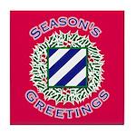 Season's Greetings Red Tile Coaster