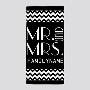 Cute Mr and Mrs Chevron Beach Towel