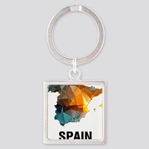 Polygon Mosaic Map of Spain Keychains