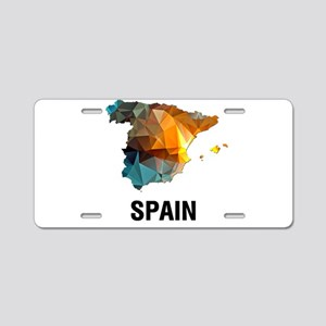 Polygon Mosaic Map of Spain Aluminum License Plate