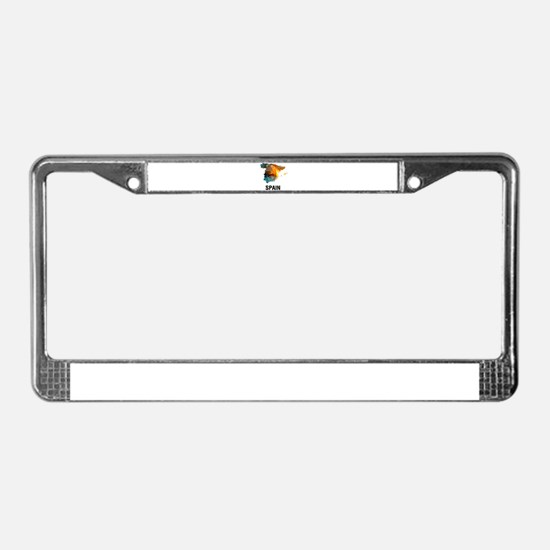 Polygon Mosaic Map of Spain License Plate Frame