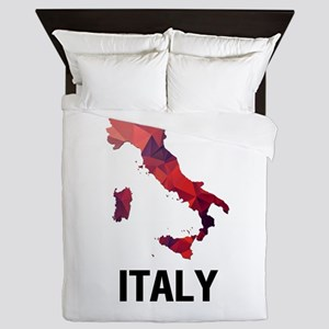 Polygon Mosaic Map of Italy Queen Duvet