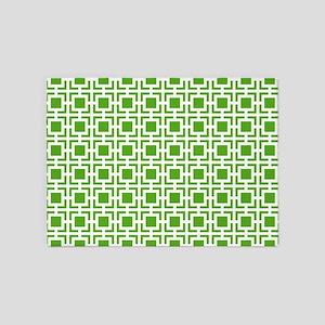 Green Geometric Lattice Pattern 5'x7'Area Rug