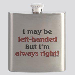 Left-Handed Funny Saying Flask