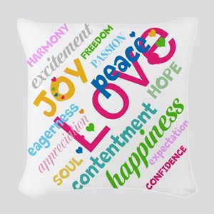 Positive Thinking Text Woven Throw Pillow
