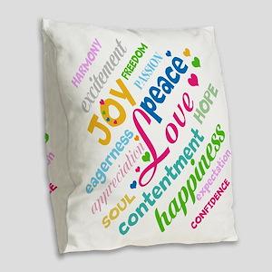 Positive Thinking Text Burlap Throw Pillow