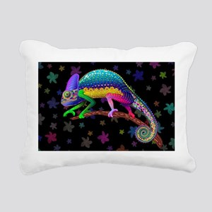 Chameleon Fantasy Rainbow Rectangular Canvas Pillo