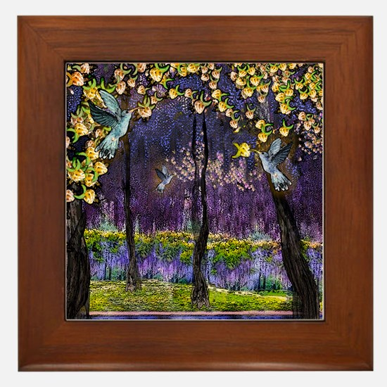 Hummingbirds and Wisteria Framed Tile