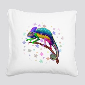 Chameleon Fantasy Rainbow Square Canvas Pillow