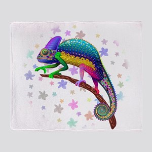 Chameleon Fantasy Rainbow Throw Blanket