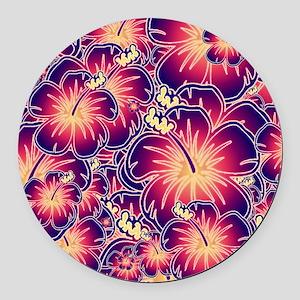 Purple hibiscus Round Car Magnet