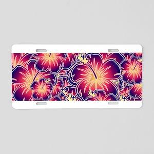 Purple hibiscus Aluminum License Plate