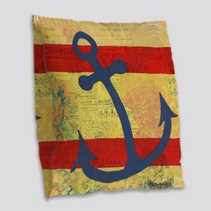 Bright Anchors Away Burlap Throw Pillow