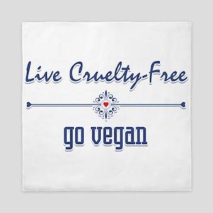 Live Cruelty Free, Go Vegan Queen Duvet